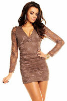 Womens Lace Long Sleeves Bodycon Sexy Deep V Neck Evening Mini Dress size 8 10