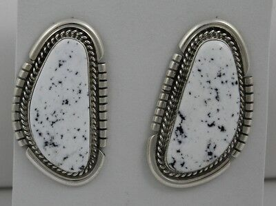 Navajo Indian Earrings White Buffalo Turquoise Post Sterling Silver Renell Perry