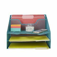 Mind Reader 5 Section Mesh Metal Desk File Organizer For Desk Accessories Turquo