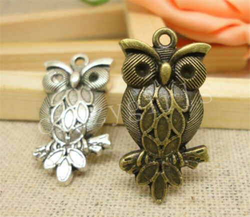 5//20//100pcs Lot Tibetan Silver Beautiful Owl Jewelry Charms Pendant 29x16mm A854