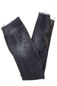 Unravel Project Womens Distressed Lace Up Skinny Jeans Gray Size 26