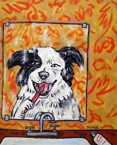 Bulldog dog bathroom 4x6  art PRINT glossy animals impressionism