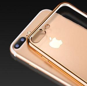 Coque-transparente-avec-Bumper-Chrome-pour-iPhone-5-5S-6-7-SE-amp-Plus-Gel-TPU