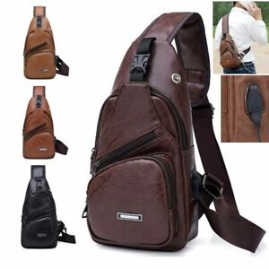 Men-Women-Leather-Sling-Bag-Backpack-Crossbody-Shoulder-Chest-Cycle-Daily-Travel