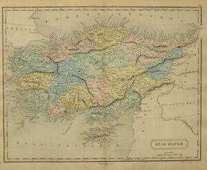 1868 Hand- Farbig Alte Landkarte Asien Minor Karien Pisidien Lycaonia Galatia