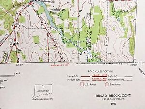 East Windsor CT BROAD BROOK CT TOPOGRAPHICAL MAP c1953 Connecticut ...