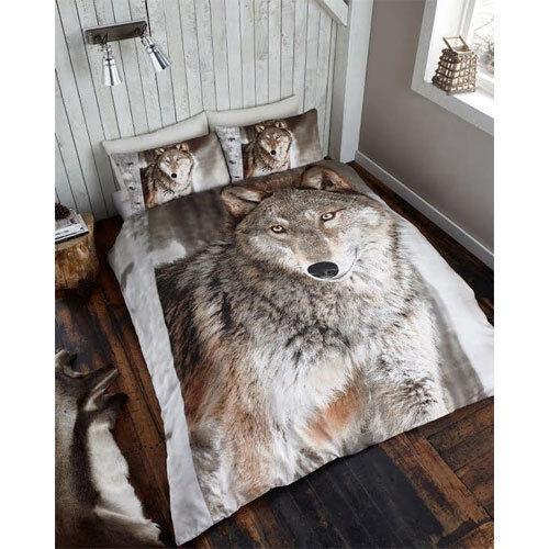 Einzelbett 3D Wolf Bettwäschegarnitur mit Kissenbezug