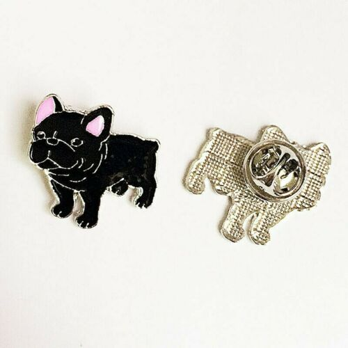 French Bulldog Brooch Metal Badge Enamelled Small Pin Black Dog Puppy