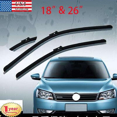 "Pair Windshield Wiper Blades J-hook Quality 26/"" /& 18/"" Inch Bracketless Frameless"