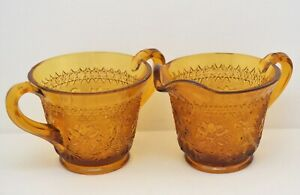 VINTAGE-INDIANA-TIARA-AMBER-GLASS-SUGAR-AND-CREAMER-SET