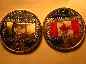 Canada-Set-Of-2-2015-25-Cent-Coins-Coloured-amp-Plain-50-Years-Of-Canadian-Flag