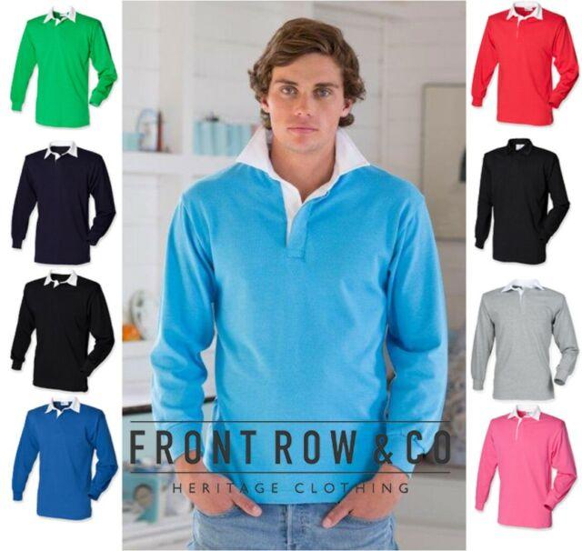 dd8fa0baf34 Front Row - Mens Plain Long Sleeve Classic Rugby Polo Shirt - Various  Colours