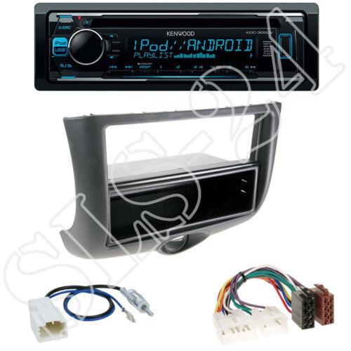 P1 2-DIN Blende schwarz mit Fach Toyota Yaris ISO-Adapter Kenwood KDC-300UV