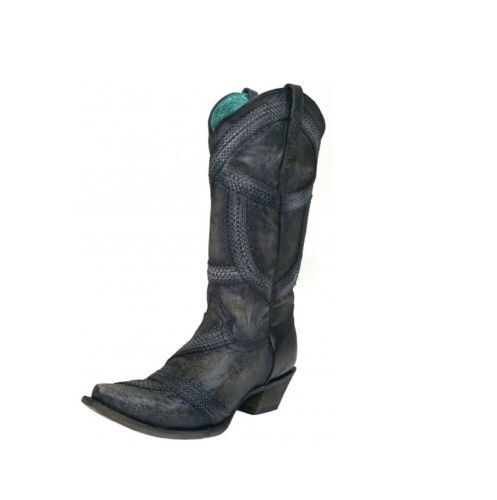 Corral Women's Braided & Studded Snip Toe Western Boots Greyish Black C3180
