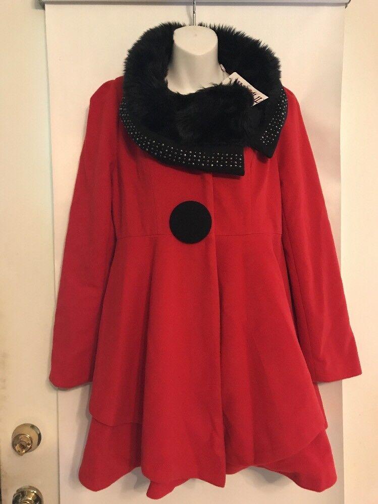Jian Yi Jai Sz 2XL Super Cute Red Swing Coat Faux Fur Collar Embellished NWT