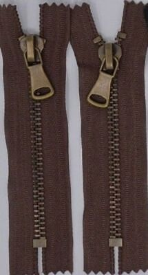 """Lot of 3 Army Green 7mm Closed-End Zippers with Antique Brass Teeth 4/"""""""