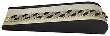 "Mens Large 14k Gold GP Sand Inlay Black Onyx Cuban Link 15mm Bracelet 8.5"" #g"