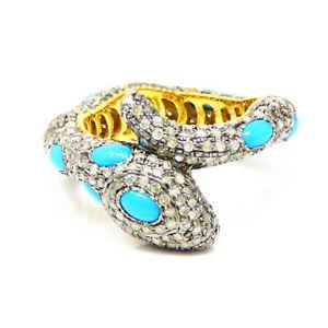 Avoir Un Esprit De Recherche Nyjewel Or 14k Turquoise 2.4 Ct Diamant Serpent Bypass Ring-afficher Le Titre D'origine