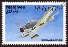 Douglas SBD DAUNTLESS WWII Dive Bomber Aircraft Stamp (1995 Maldives SG2281)