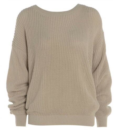 WOMENS LADIES KNITTED CASUAL BAGGY JUMPER WINTER BASIC TOP PLUS SIZE 8-22