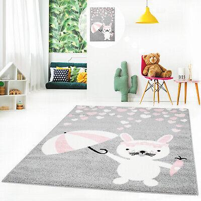 Rosa für Kinderzimmer Kinderteppich Bubble mit niedlichen Hasen Herzen in Grau
