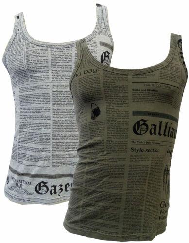 Canotta tank top maglia John Galliano con stampa with print Uomo man senza manic