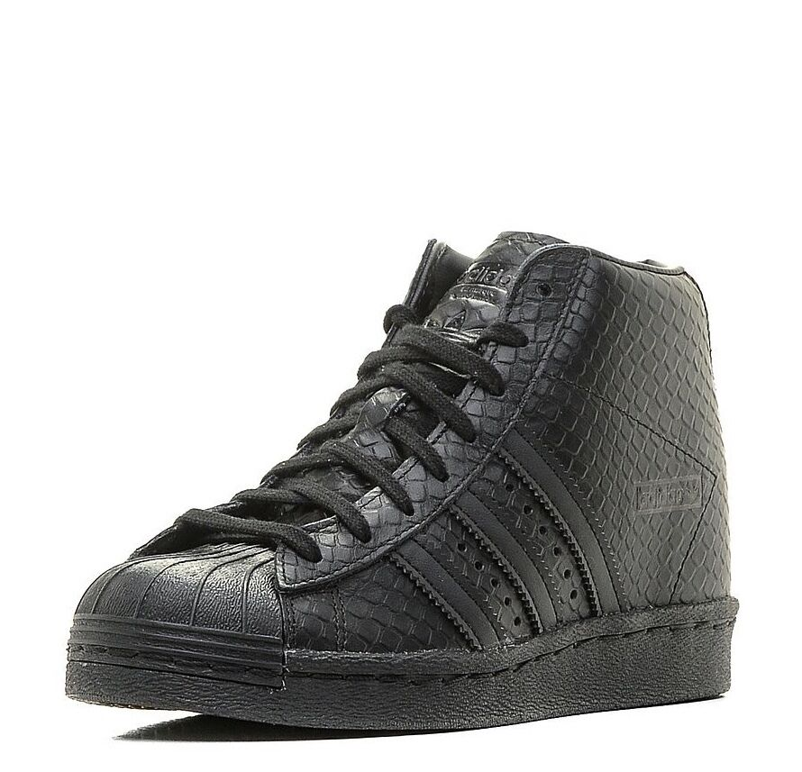 sports shoes e6d96 624a7 Woman s Adidas Superstar Up Up Up Wedge S76404 Snake Skin Triple Black SZ 5-11  Nike ...