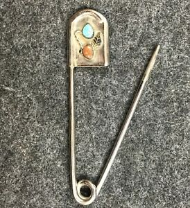Rare-5-Vintage-Risdon-Safety-Pin-Turquoise-amp-Coral-Key-Tag-Horse-Blanket-Tack-Q