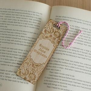 Personalised-wooden-bookmark-Vintage-flower-floral-design-add-your-name-L174