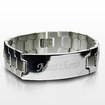 Personalised Mens Stainless Steel ID Bracelet-Engraved Free-Christmas, Jewellery