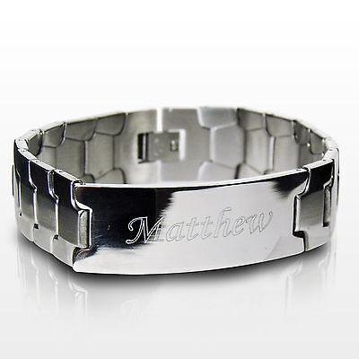 Personalised Mens Stainless Steel ID Bracelet-Engraved Free-Christmas, Jewellery