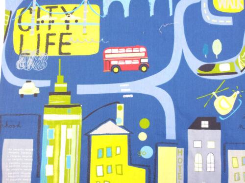 Prestigious City Life Bus Helicopter Denim Designer Childrens Curtain Fabric
