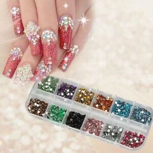 Image Is Loading 3000 Pcs Nail Art Decoration Rhinestones 12 Colours