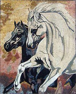 Image of: Roman Mosaics Image Is Loading 36034handmadeanimalhorsesblackampwhite Ebay 36