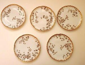 VTG-CHField-Haviland-Limoges-CFH-GDM-Limoges-Mini-Plates-7-034-wide-Set-of-5-Floral