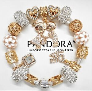 Authentic Pandora Charm Bracelet Silver Gold Love Hearts With European Charms Ebay