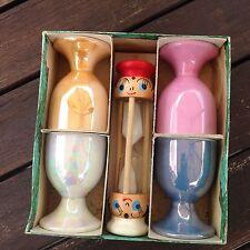 Vintage Egg Cups And Wooden Timer