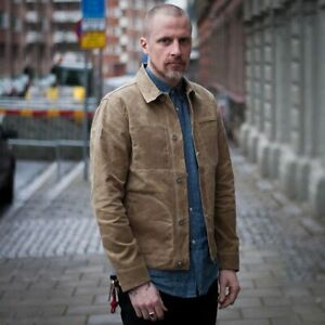 Men-039-s-Waxed-Canvas-Cotton-Jacket-Military-Light-Spring-Work-Jacket-Khaki