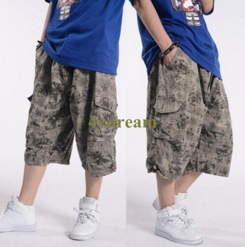 Fashion Hommes Casual lâche Wide Leg Short Cargo Travail Sports Pantalon Baggy C46
