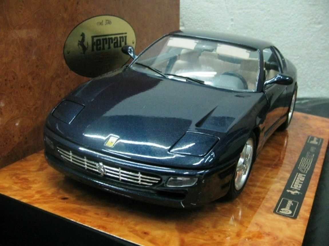 Wow extrêmement rare FERRARI 456 GT V12 1992 bleu en bois 1 18 B BURAGO Executive
