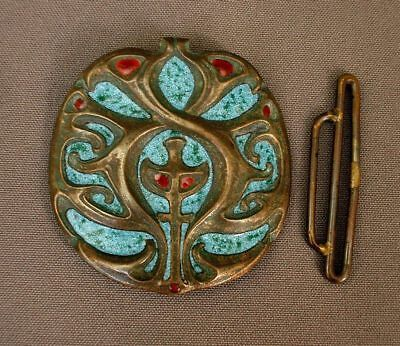 Shop For Cheap Emanuel Robert Hjalmar Wasler Jugendstil Buckle Enameled Bronze Signed