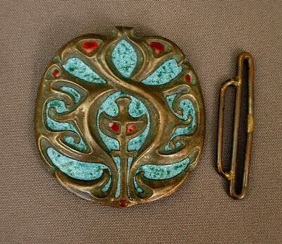 Signed Jugendstil Buckle Enameled Bronze Shop For Cheap Emanuel Robert Hjalmar Wasler