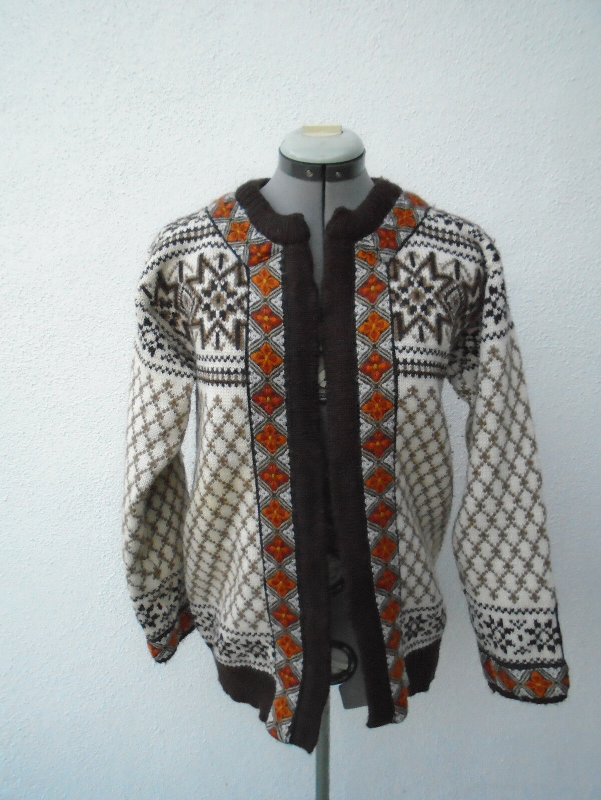 DALE DALE DALE OF NORWAY Open Front Brown White orange Cardigan Size 48 fb09be