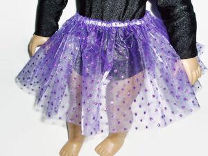 Purple-Sparkly-Dot-Basic-Tutu-18-034-Doll-Clothes-Fits-American-girl-dolls-Handmade