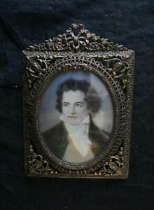Porträt Ludwig van Beethoven Lupenmalerei Metallrahmen 14cm loupe painting Frame