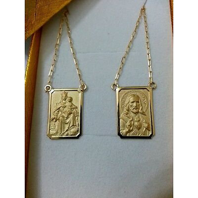 18k Scapular Gold Lady of Carmel with heart of Jesus Medium Medal Double Face
