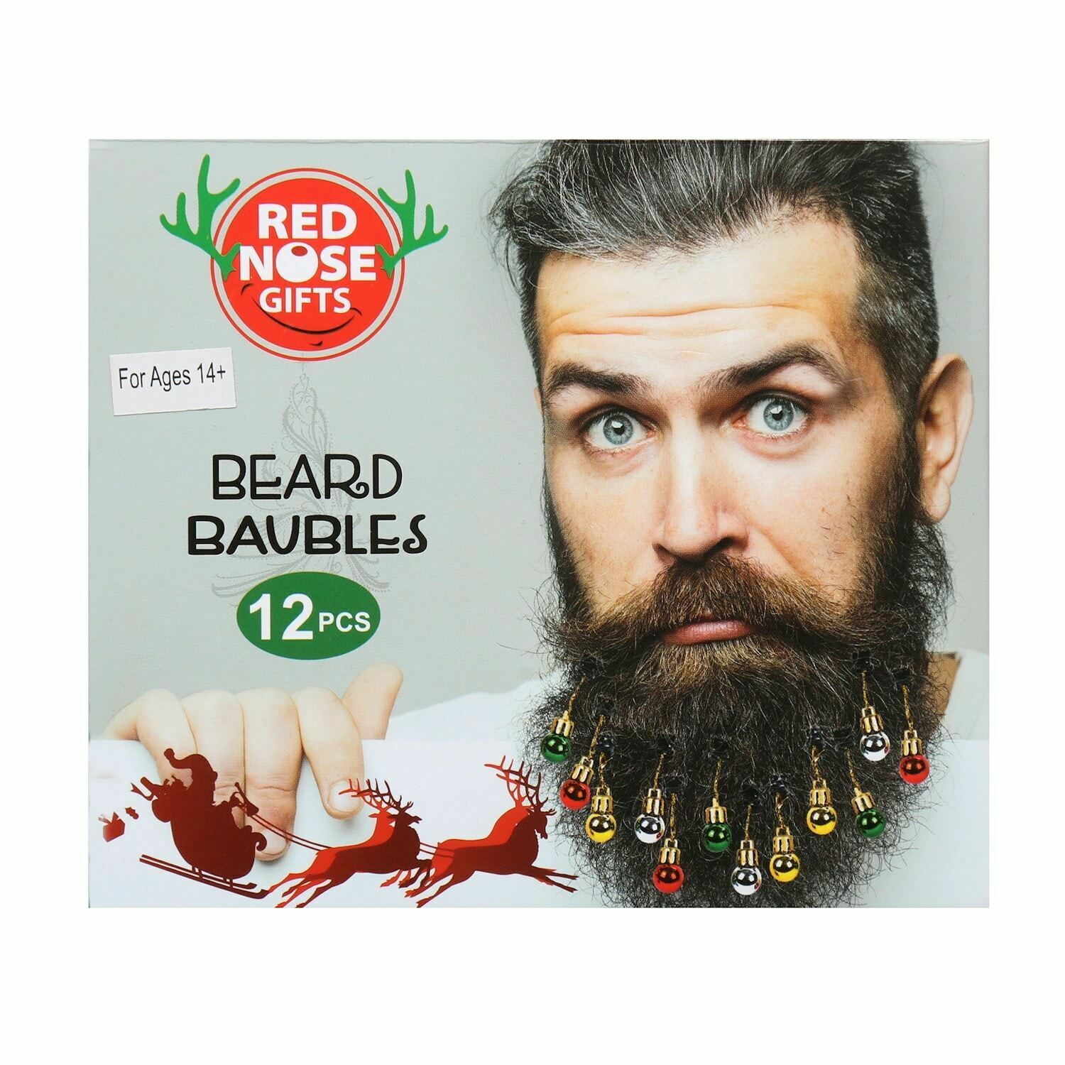 Holiday Beard Ornaments - 12 Piece Multi-Colored Clip-In Hair Accessories