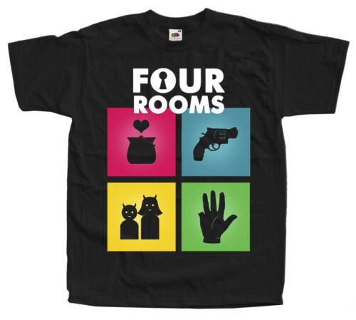 T SHIRT BLACK all sizes S to 5XL Four Rooms V2 movie poster