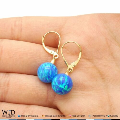 10 mm Ball Shaped Deep Blue Fire Opal Leverback Dangle Earrings 14K Yellow Gold