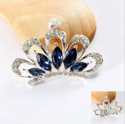 2 Pieces Flat Back Silver Alloy Bling Rhinestones Crystal Crowns Decorations